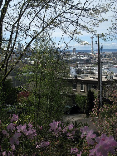 View of Space Needle and South Lake Union from Streissguth Gardens