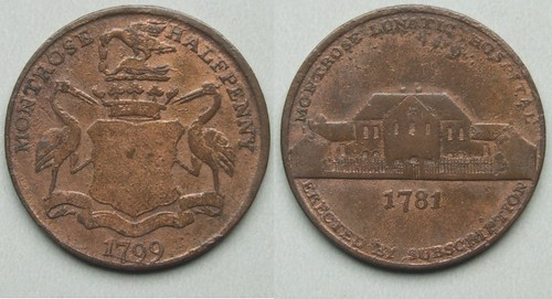Montrose Lunatic Hospital halfpenny token 1799