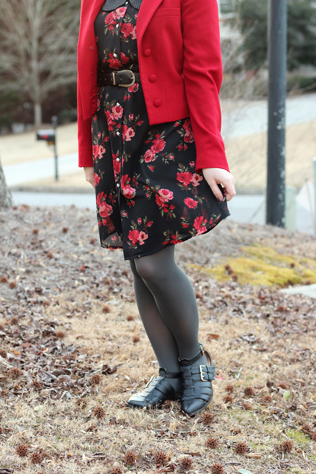 Red Open Ralph Lauren Blazer with a Floral Print Dress and Gray Tights