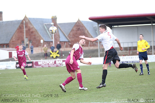 Arbroath 3 - 1 Clyde - Paul McManus heads the ball