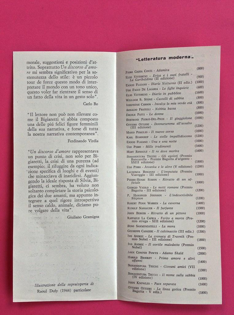 Disamore, di Libero Bigiaretti. Bompiani 1964. [Responsabilità grafica non indicata]. Scheda editoriale presente fra le pagine, pag. 2 e 3 (part.), 1
