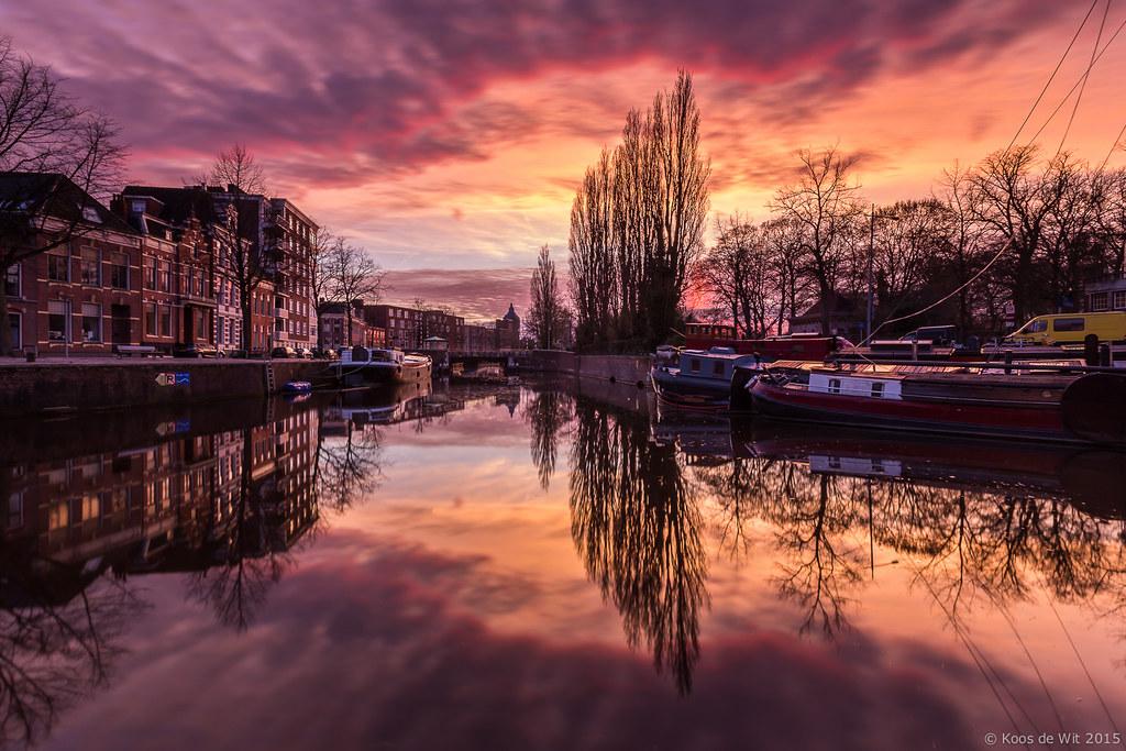 Groningen Noorderhaven at sunset