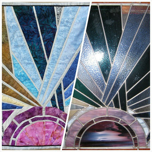 Alida (tweloquilting.blogspot.com) recreated one of my later mother-in-law's stained glass pieces as a quilt for my birthday. I'm absolutely overwhelmed with emotion. #paperpiecing #gift #tweloq