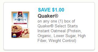 Coupon - Quaker Select Starts Instant Oatmeal