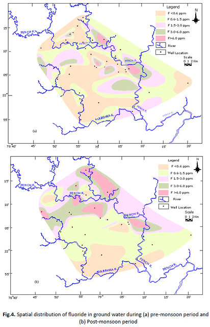 Spatial distribution of fluoride in ground water during (a) pre-monsoon period and