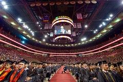 A crowd estimated at over 20,000 sit in the TD Garden in Boston, Massachusetts, before U.S. Secretary of State John Kerry delivered the commencement address for Northeastern University's Class of 2016 on May 6, 2016. [State Department photo/ Public Domain]