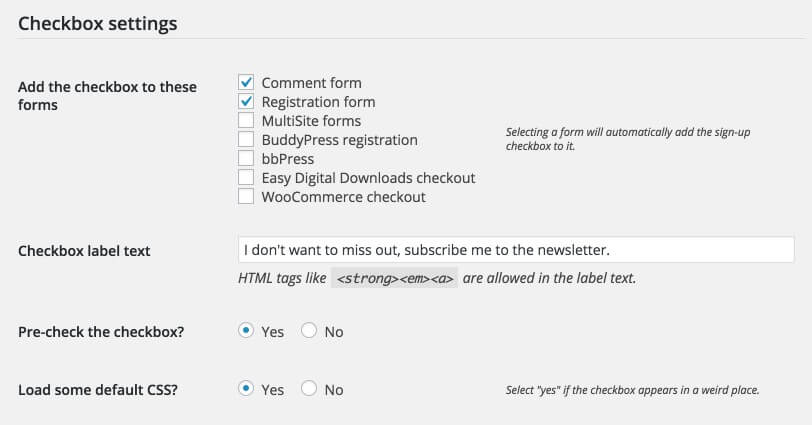 MailChimp for WordPress plugin for mailing letters