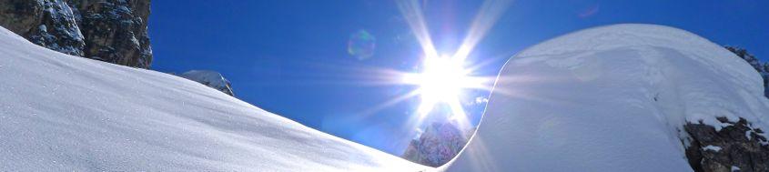Silvester im Gebirge. Winterszenerie in den Dolomiten. Foto: Günther Härter.