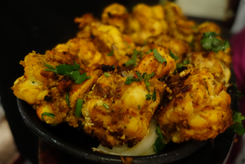 Tandoori tiger prawns, Gaylord, London