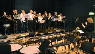 Tromboneensemble under ledning av Johanna Andersson