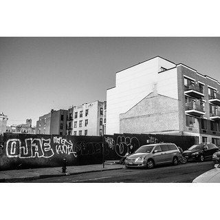 People used to live here. You can tell by the shadow. Soon it'll be a shiny high-rise condo. #gowanus #brooklyn #nyc #instagramnyc #MPNselects #blackandwhite