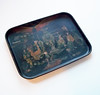 Antique Victorian French Chinoiserie Papier Maché Tray Chinese Market Scene