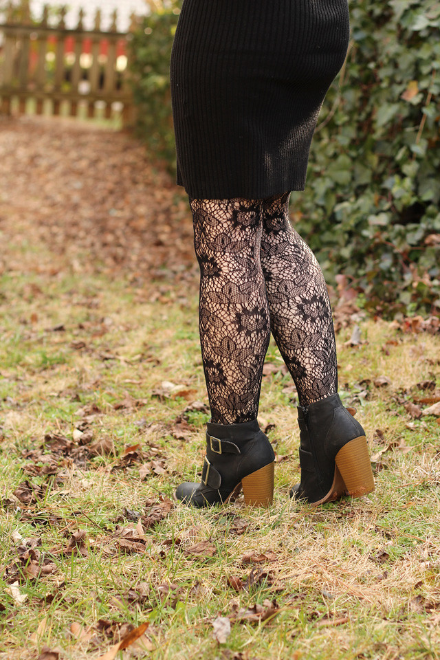 Black Lace Tights and Ankle Boots