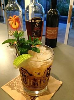 @frogprincesse: Ancient Mariner (Jeff Berry) with El Dorado 8 Demerara rum, Coruba dark Jamaican rum, grapefruit & lime juice, allspice dram