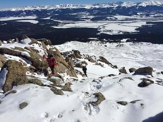 Clare and Sanja Climbing East Ridge of Mt Massive