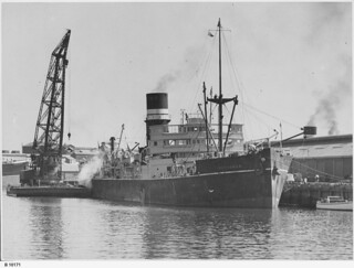 "Floating crane unloading cargo from the ""Peshawur"". - Photograph courtesy of the State Library of South Australia"