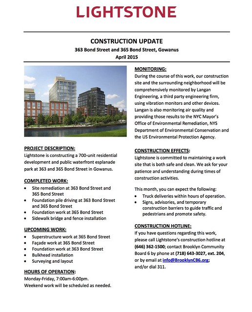 Lightstone Gowanus Construction Update - April 2015 copy
