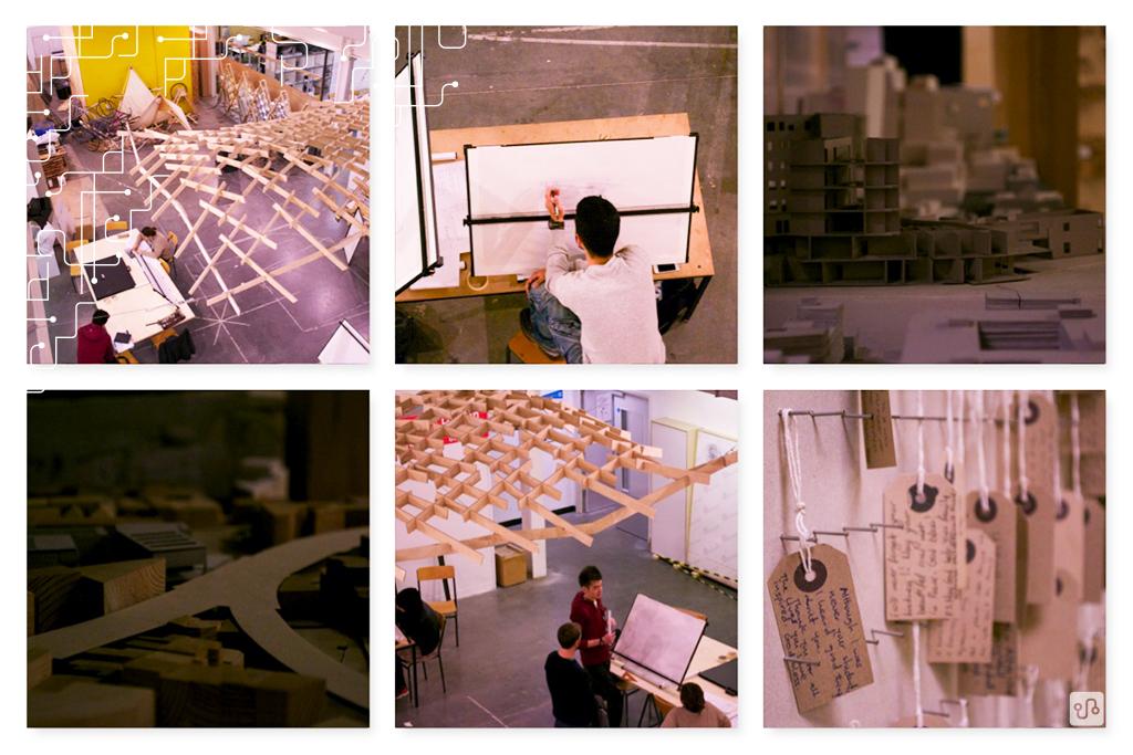 Área de Architecture & Product Design, com trabalhos de alunos.