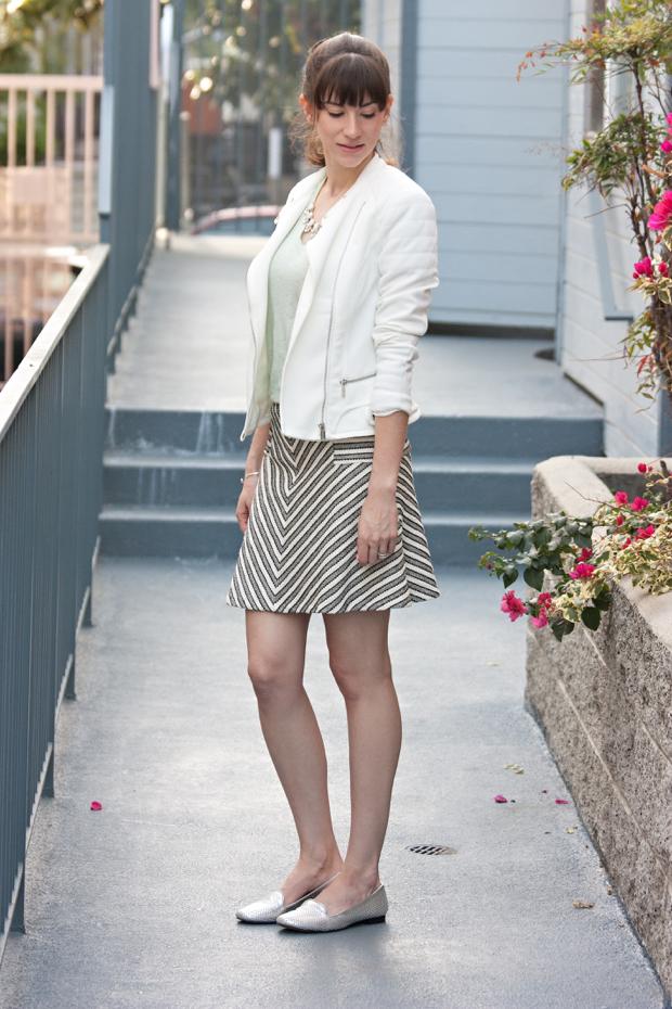 Striped Skirt, White moto jacket