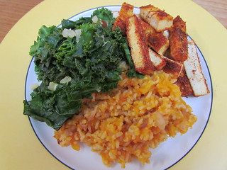 Pineapple 'Collard' (Kale); Broiled Blackened Tofu; Butternut Coconut Rice