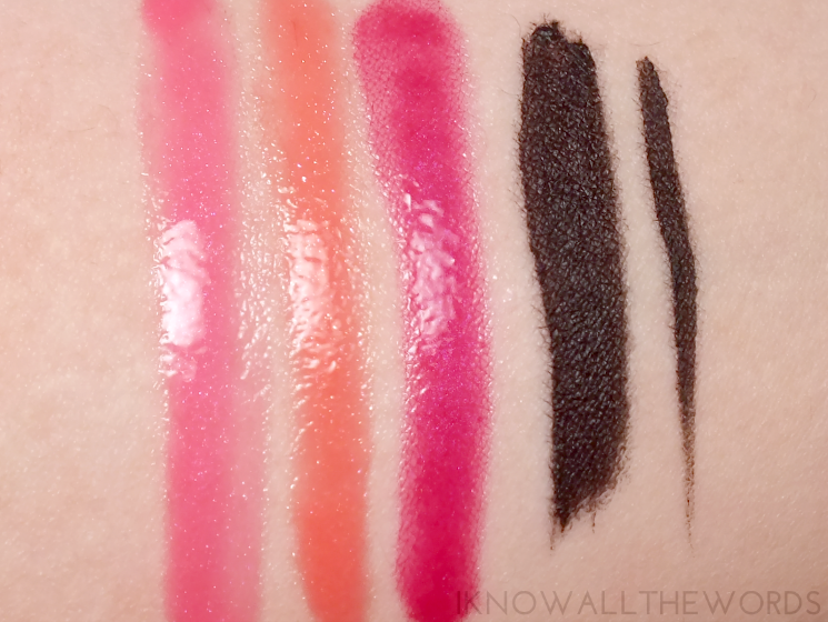elizabeth arden sunkissed pearls collection lip glloss trio and gel eyeliner swatches