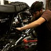 Chris @brooklynmotorworks installing my new @worksperformance shocks on to my #Triumph #thruxton #caferacer #motorcycle