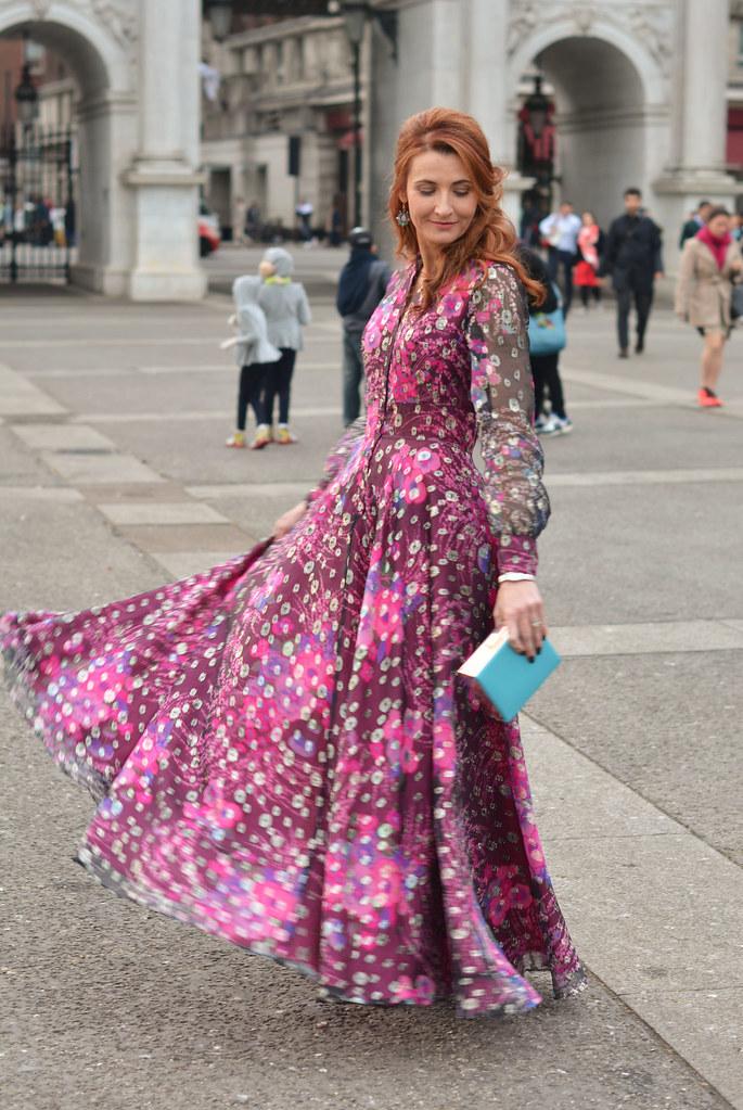 Vintage 1970s full-length patterned dress