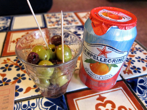 Olives and San Pellegrino