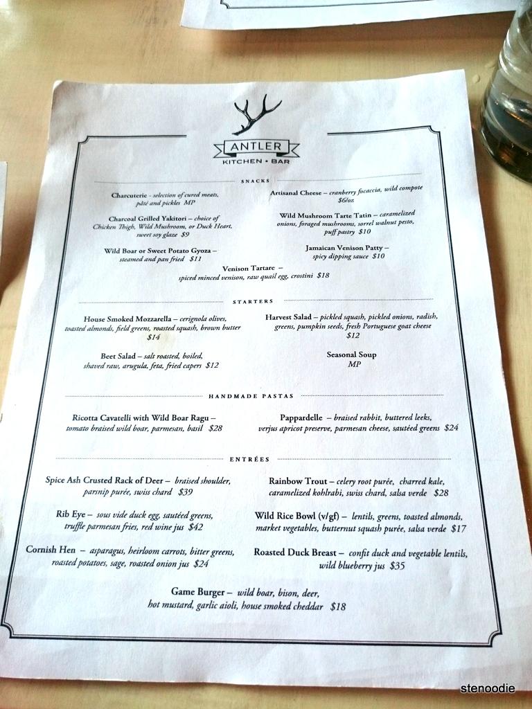 Antler Kitchen & Bar food menu