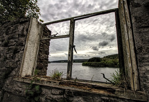 old sky lake building broken window water wales view cymru reservoir abandonded welsh pontsticill derelict powys