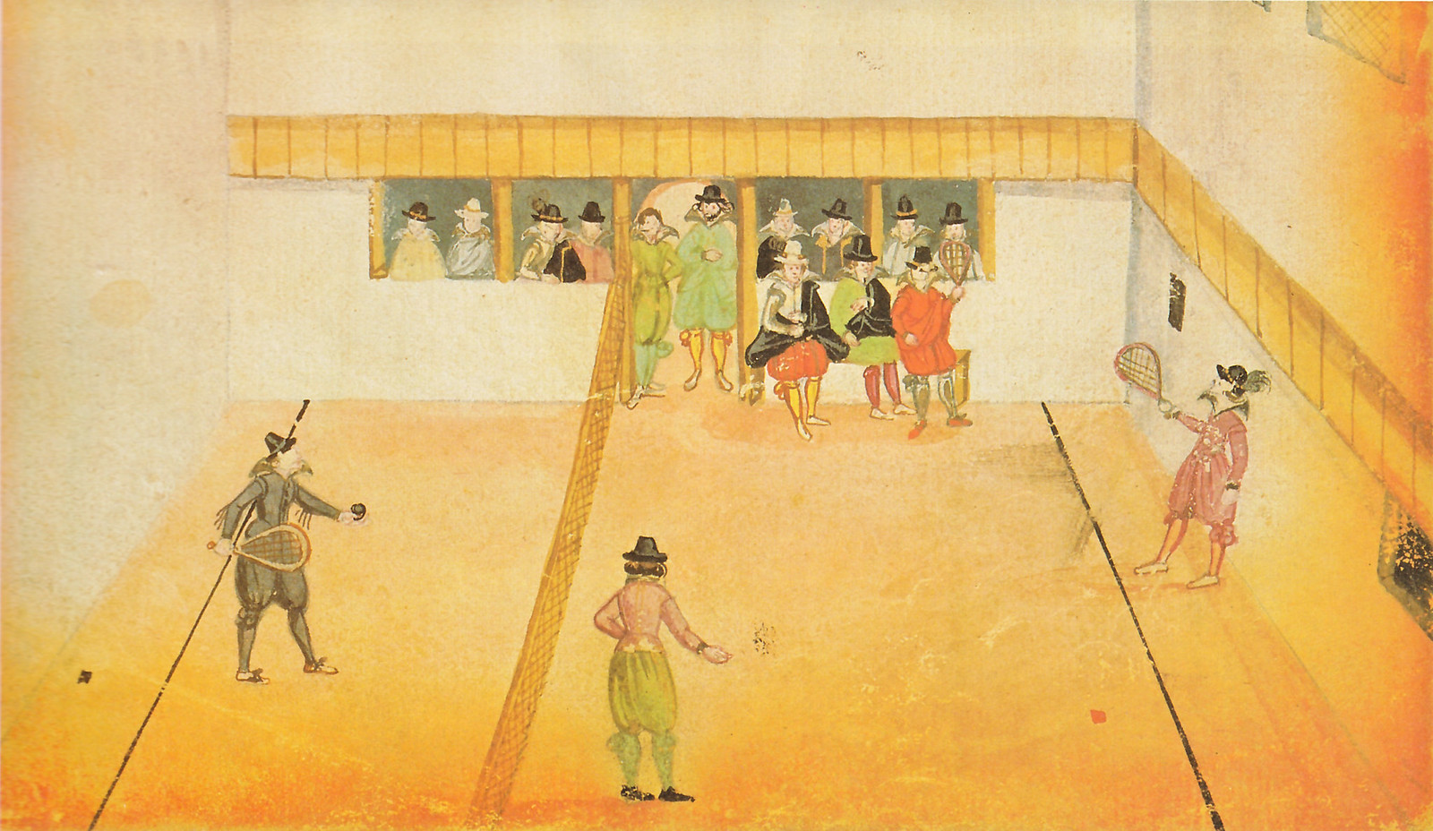 Watercolor painting from an unknown German student who had studied in Italy (Padua or Siena), depicting an early form of Tennis
