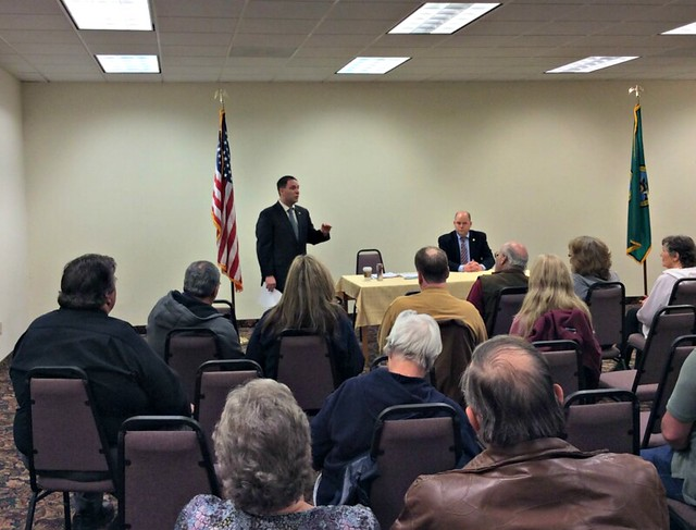 Reps. Dan Griffey and Drew MacEwen at a town hall meeting in Shelton, WA