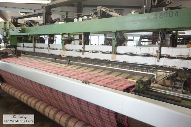 The wool yarn to be woven at Tregwynt Mill