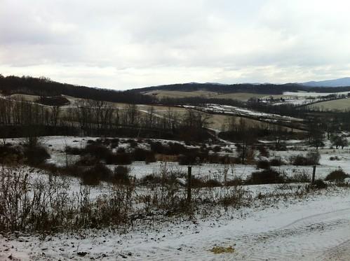 sky snow mountains fence farmland hills farms