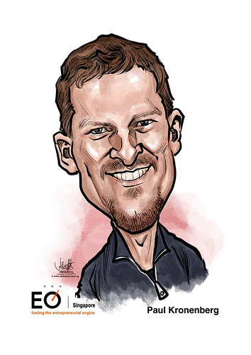 Paul Kronenberg digital caricature for EO Singapore