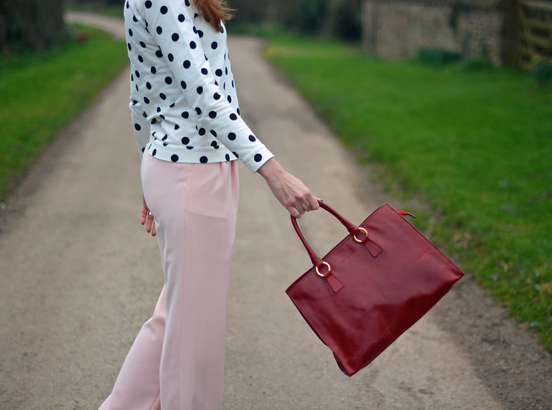Black & white polka dots with pastel pink and cherry red