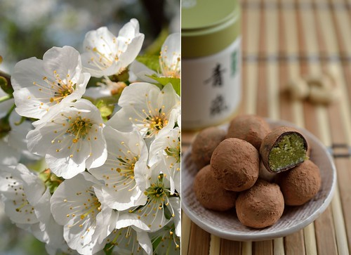 Cashew nut marzipan with matcha powder