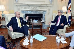 U.S. Secretary of State John Kerry meets with French Foreign Minister Laurent Fabius in his Outer Office at the U.S. Department of State in Washington, D.C., on April 19, 2015. [State Department photo/ Public Domain