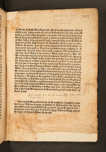 Colophon of Chronicles of England [English]
