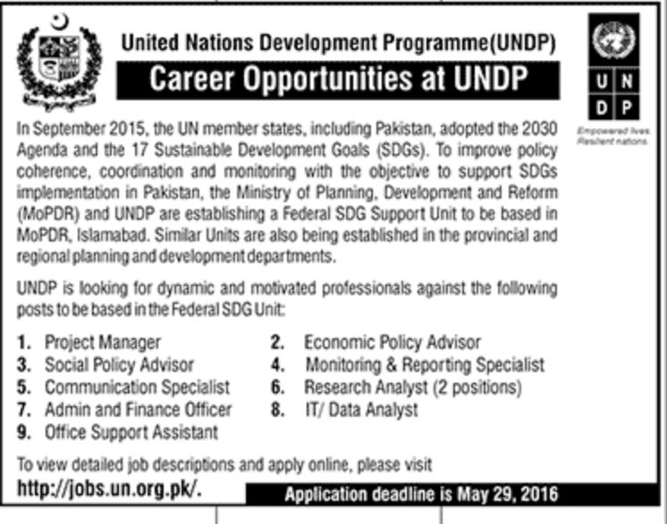 UNDP Career Opportunities 2016