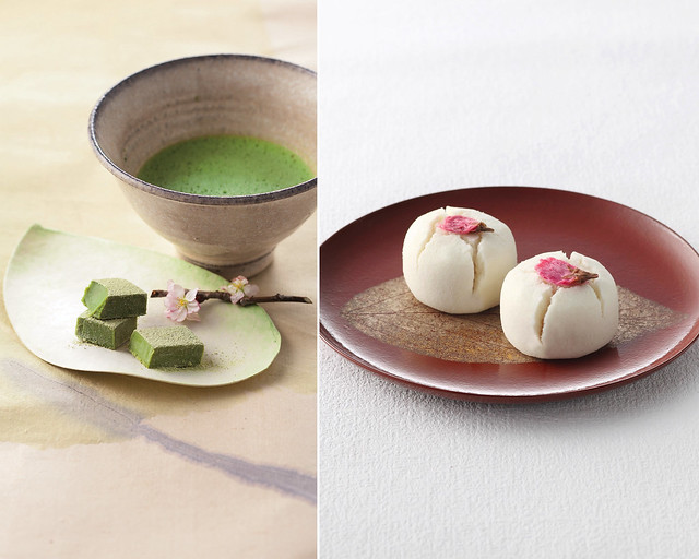 Nama Chocolate Maccha from Royce' Chocolate. Photo credit Royce' Confect (left). Cherry blossom wagashi from Minamoto Kitchoan (right).