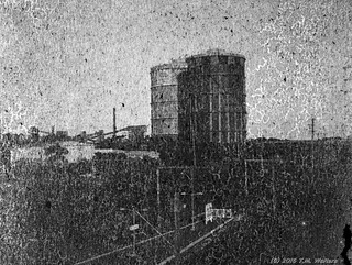 Port Kembla Steelworks gas silos (1947 expired Gevaert Express Superchrom 120 film)