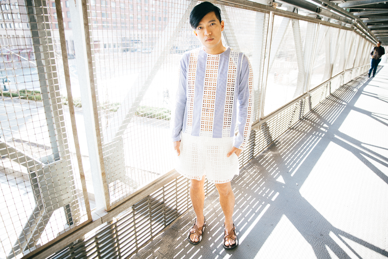 Bryanboy wearing a pinstripe playsuit from Sacai Luck
