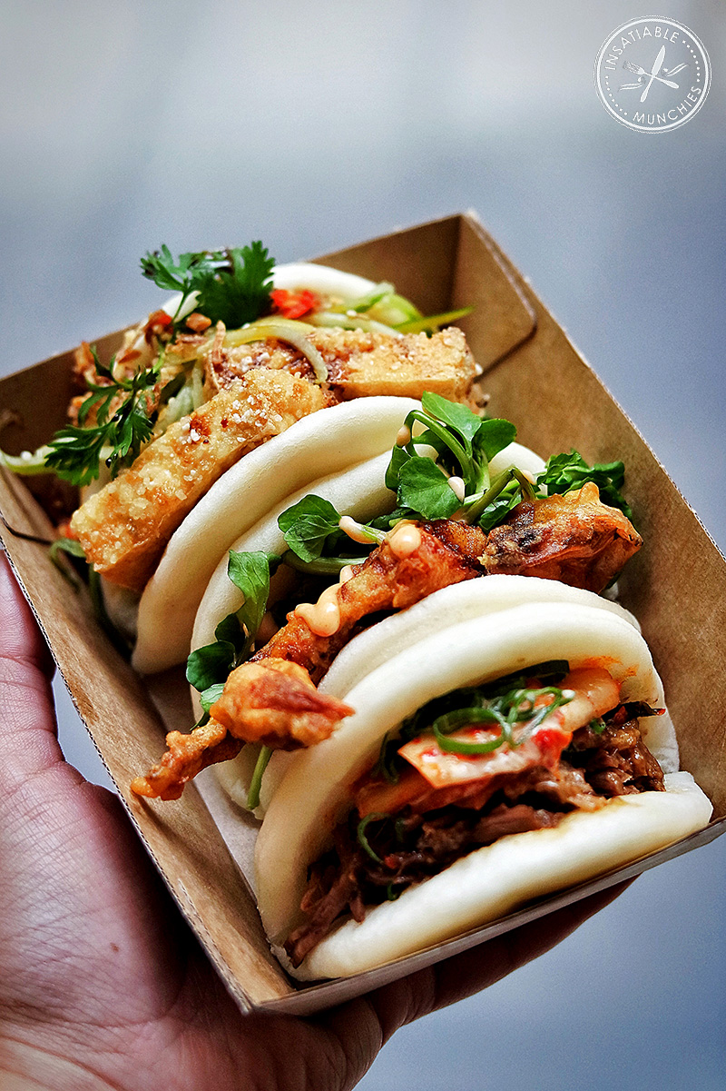 Tofu Bao, Soft Shell Crab Bao and Short Rib Bao at Belly Bao
