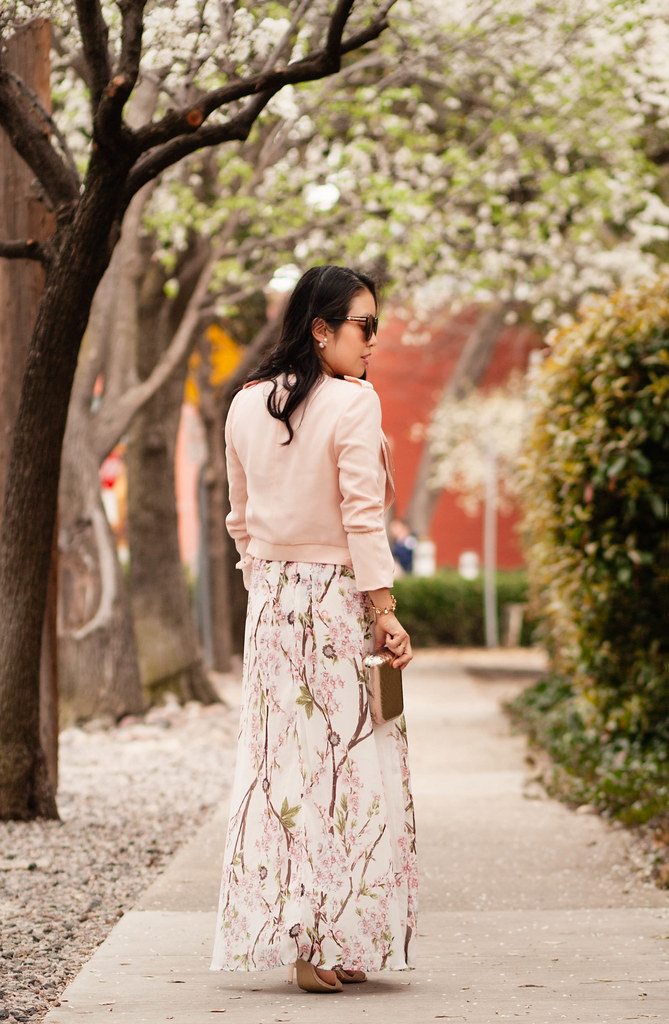 cute & little blog | petite fashion | forever pink blush tiered zipper crop jacket, sheinside floral spaghetti strap backless maxi, rocksbox gorjana taner necklace, gold clutch | spring outfit