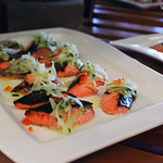 Seared Salmon Trout Cube, Shaved Fennel, Trout Roe