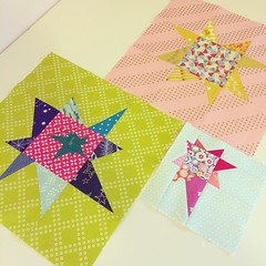 A few mildly and somewhat-wildly liberated stars for @schnacks #dgslovecircle quilt. Thanks for the fun block, Allison... wonky stars are always a good time!