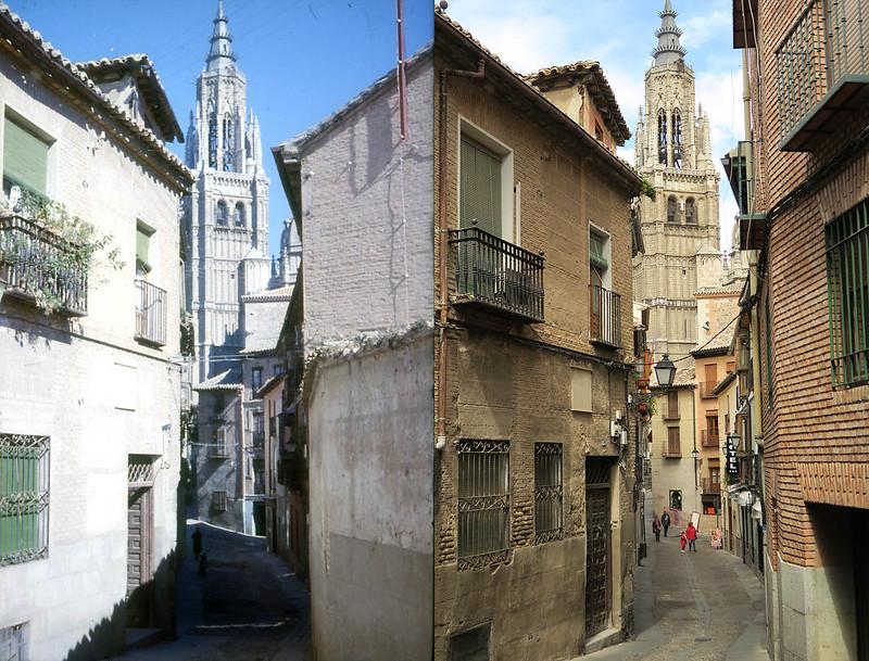 Catedral de Toledo en noviembre de 1961 y en abril de 2016 fotografiada por Piet Welling y Lieke Welling (1961) y Hans Welling (2016)