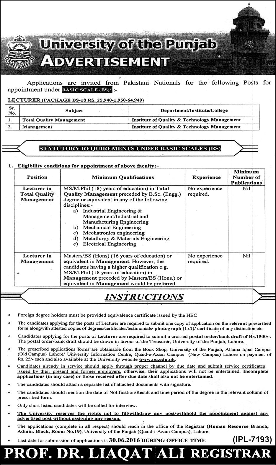 University of Punjab Faculty Required