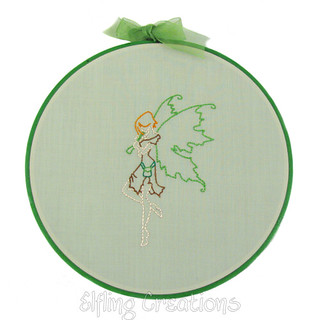 Green Irish Piper Fairy Wall Hanging Embroidery